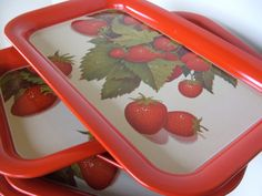 5 vintage strawberry serving trays by lookonmytreasures on Etsy, $27.50