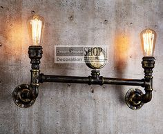 Aged steel pipe lighting Industrial water pipe lamps black or brass finished 110V/220V E27 2-arm iron edison chandelier