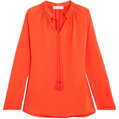 MICHAEL Michael Kors Embroidered hammered-crepe blouse (€165) ❤ liked on Polyvore featuring tops, blouses, bright orange, orange blouse, embroidery blouses, red blouse, embroidered blouse and michael michael kors tops