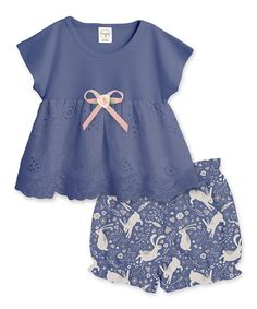 Take a look at this Indigo Bow Eyelet Tunic & Bunny Love Bloomers - Infant today!