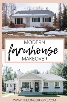 A Modern Farmhouse Style Exterior Makeover - The Ginger Home Modern Farmhouse exterior before & after. Curb Appeal DIY, how to improve curb appeal, exterior before and after, modern farmhouse makeover, scandinavian farmhouse before and after Farmhouse Exterior, Holiday Home, Farmhouse Style Lighting, Farmhouse Remodel, Farmhouse Style Exterior, Exterior Lighting, Farmhouse, Exterior Remodel, Exterior Makeover