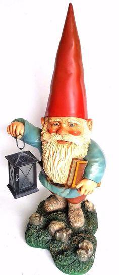 Gnomy Garden Gnome Rien Poortvliet, Gnome with Lantern 24 INCH in Original box