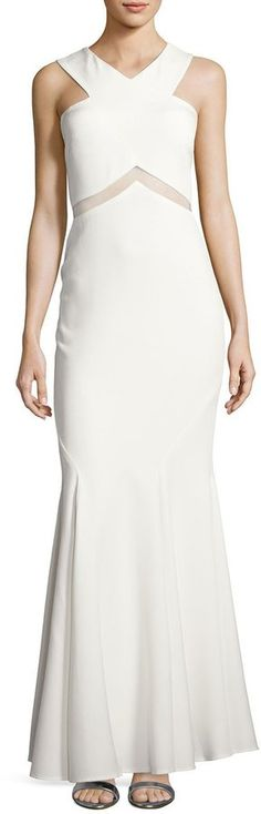 LM Collection Crepe Cross-Neck Gown, White at Last Call by Neiman Marcus #affiliatelink