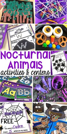 Nocturnal Animals activities and centers for preschool pre-k and kindergarten . Ideas for every center letters writing fine motor sensory science art blocks and more. Animal Activities For Kids, Art Therapy Activities, Hands On Activities, Science Activities, Educational Activities, Learning Resources, Kids Learning, Preschool Themes, Preschool Art