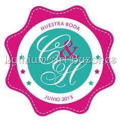 "Logo de Bodas ""Fucsia & Turquesa"" | Lythium Art®  Design by: Yil Siritt"