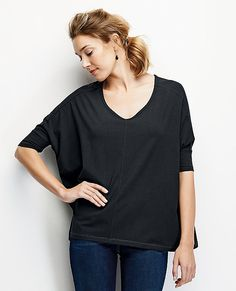 The perfect slouchy-soft tee has a pretty V-neck and slightly fitted finish at the elbow length sleeves. Sigh. <br>• Cotton/rayon/spandex jersey<br>• Elbow length dropped sleeves<br>• Easy slouchy fit<br>• Soft V neck <br>• Prewashed<br>• Imported $49