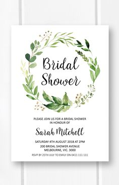 Greenery bridal shower invitation, garden bridal shower ideas, botanical bridal shower invites from Pink Summer Designs on Etsy