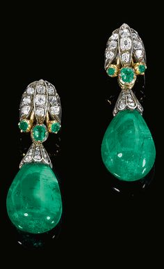 Pair of emerald and diamond earrings, composite circa 1870 and later. Each surmount of stylized lotus design, set with rose, cushion shaped and single cut diamonds and circular cut and cushion shaped emeralds, circa suspending an emerald drop capped Emerald Earrings, Emerald Jewelry, Diamond Jewelry, Drop Earrings, Diamond Bracelets, Jewelry Gifts, Jewelry Accessories, Fine Jewelry, Jewelry Design