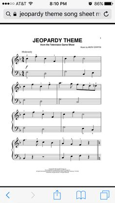 Digital Sheet Music for Jeopardy Theme by Merv Griffin scored for Piano; Trumpet Sheet Music, Saxophone Sheet Music, Cello Music, Flute Sheet Music Disney, Easy Sheet Music, Digital Sheet Music, Pop Sheet Music, Music Sheets, Band Nerd