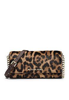 MICHAEL Michael Kors Jet Set Travel Leopard Hair Calf Chain Wallet Crossbody