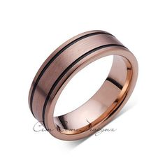 8mm,New,Unique,Rose Brushed,Rose Gold, Black Grooves,Tungsten Ring,,Wedding Band