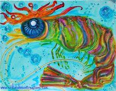 Mobster Shrimp : Acrylic on canvas-fish art-art fish-painting on canvas-shrimp art-beach art-contemporary art-www.erikajohnsoncreations.com