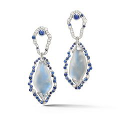 Platinum Moonstone and Sapphire Earrings.