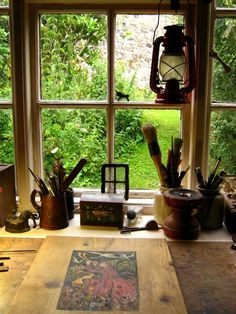 the cottage there's time enough to indulge in favorite pastimes . and to glance out the window at the sweet green.At the cottage there's time enough to indulge in favorite pastimes . and to glance out the window at the sweet green. My Art Studio, Dream Studio, Ventana Windows, Through The Window, Window View, Art Studios, Decoration, Sweet Home, Inspiration