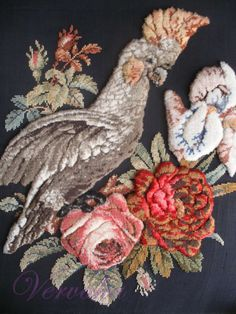 Antique Victorian plush woolwork embroidery of parrot & roses, 3 D raised Needlepoint, 3 D, Rooster, Berlin, Cross Stitch, Plush, Victorian, Tapestry, Birds
