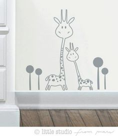 Vinyl Wall Decal SALE - Baby Nursery - Animals - Two Giraffes. $9.00, via Etsy.