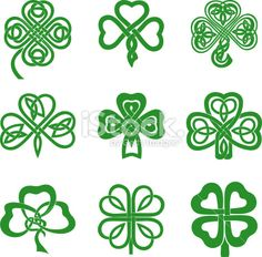 four leaf clover drawings | Celtic Knot Shamrocks Royalty Free Stock Vector Art Illustration