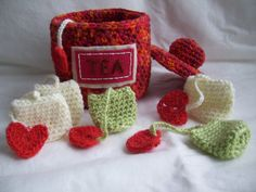 Tea Canister and Tea Bagscrochet play food by KTBdesigns on Etsy, $8.00