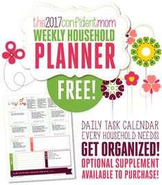 Download the 2017 Confident Mom Weekly Household Planner for FREE!