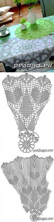 Филейные салфетки с сердечками схемы