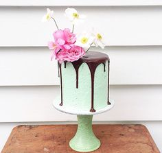 Mint chocolate cake with flowers. Too pretty to eat.