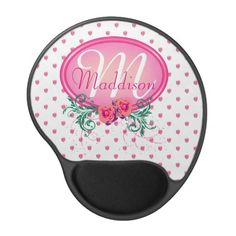 http://www.zazzle.com/pink_frame_monogram_rose_gel_mouse_pads-159726765875821759?rf=238523064604734277 Pink Frame Monogram Rose Gel Mouse Pads - This mouse pad has lots of pink roses all over. It has a pink monogram frame with roses and green foliage in which to place your name and initial. This would make a beautiful, personal birthday, Christmas gift for a wife, mother, friend, business partner or back to school gift for your daughter.