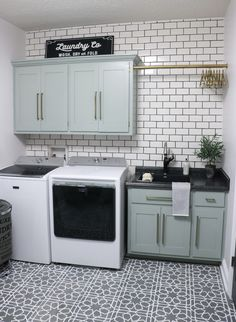 DIY Laundry Room Makeover - Sincerely, Sara D. - DIY Laundry Room Makeover – Sincerely, Sara D. DIY laundry room makeover – love t - Laundry Room Tile, Laundry Room Remodel, Laundry Room Cabinets, Basement Laundry, Farmhouse Laundry Room, Laundry Room Organization, Laundry Room Design, Diy Cabinets, Organization Ideas