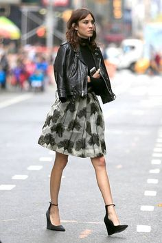 leather, flounce, edgy wedges #skirt #style