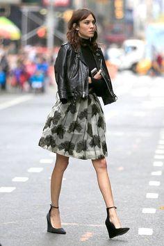 leather, flounce, edgy wedges #skirt #style