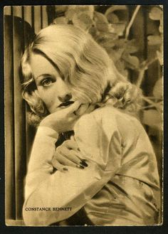 """Constance Bennett (1904-1965), one of Pathé's contract stars. Some of her films (silents and talking pictures) include: """"Cytherea"""" (1924), """"Sally, Irene and Mary"""" (1925), """"Common Clay"""" (1930), """"What Price Hollywood?"""" (1932), """"The Affairs of Cellini"""" (1934), """"Ladies in Love"""" (1936), """"Topper"""" (1937) and """"Merrily We Live"""" (1938)."""