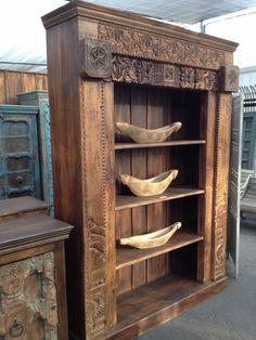 Vintage Teak Carved Bookcase 60w x 15d 86h
