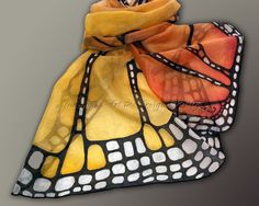 Hand painted silk scarf - Butterfly wing- butterfly scarves- small scarf