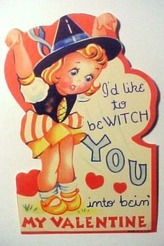 So she assumes the bird position? vintage Valentine card