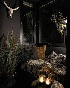 Schwarze Wände, Schlafzimmer, Innenarchitektur, Nische, Einrichtungsideen,  Haus