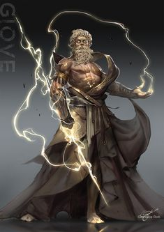Another representation of Zeus done on the computer. The lightening bolts shows the power and the huge strength he has. Age of Pantheons Zeus Greek Mythology Tattoos, Greek Mythology Gods, Greek Gods And Goddesses, Age Of Mythology, Fantasy Character Design, Character Inspiration, Character Art, Mythological Characters, Fantasy Characters