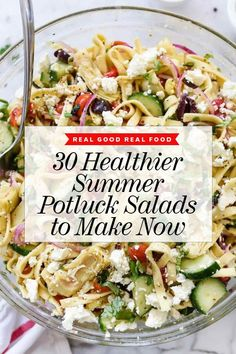 From zippy potato salads, quinoa salads, coleslaws, and pasta salads that just seem to get better and better over time, we can't get enough of this list of 30 healthier, light and refreshing summer potluck salads to make now. | foodiecrush.com #salad #pastasalad #summer #potluck