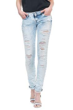 Calças de ganga Push Up Wonder com rotos, lavagem clara e perna justa | 113902 Bleach | Salsa