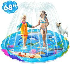 68 Large Sprinkler Water Play Mat Children Outdoor Backyard Sprinkler Toys for 1-12 Years Old Boys Girls Toddlers iBaseToy Splash Pad for Kids Wading Pool Fun Splash Pad for Kiddie /& Babies