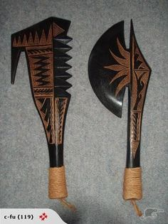 Ancient Samoan Weapons | Samoan Clubs Visit exotic888imports.com Collector and Seller of COOL and UNIQUE items, call 204 381 1587 LET Me know what you have! Survival Weapons, Weapons Guns, Larp, Primitive, Engraved Pocket Knives, Inka, Arm Armor, Fantasy Weapons, Knives And Swords