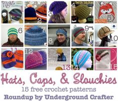 15 free #crochet patterns for hats, caps, and slouchies, #roundup curated by Underground Crafter | #NationalHatDay