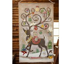 """Reindeer Painted Advent Calendar  36"""" wide x 58"""" high Expertly sewn of linen-canvas with hand painted and silkscreened artwork with appliquéd details."""