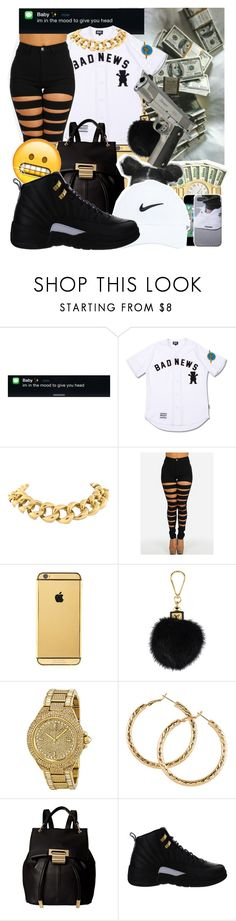 """""""Bad News"""" by baby-marii ❤ liked on Polyvore featuring Seaman Schepps, Goldgenie, Louis Vuitton, Michael Kors, H&M, Ivanka Trump and NIKE"""