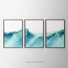 Set Of 3 Turquoise Ocean Waves Watercolors. Three Piece Impressionist Watercolour of Tropical Sea.