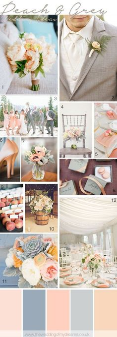 Pics 1, 6, 9, and 12. Choosing wedding colors and inspiration - peach and grey