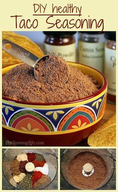Fiesta Taco Seasoning Mix----A healthy mix & gift jar for seasoning taco meat, nachos, beans, dips & more; plus how to cook and freeze ground turkey taco meat Diy Taco Seasoning, Seasoning Mixes, Mexican Seasoning, Homemade Spices, Homemade Seasonings, Sauces, Do It Yourself Food, Waffles, Tasty