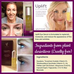 Uplift eye serum is NEW to Younique and is gonna take this company to a new level! International Patent Pending...just like their 3D lashes, there's nothing else like it!!! Order at www.sexysteelworx.com