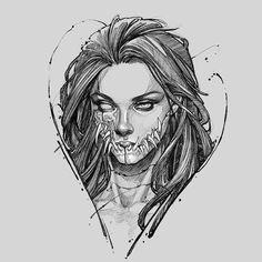 Dark Art Drawings, Tattoo Design Drawings, Art Drawings Sketches, Tattoo Sketches, Cool Drawings, Creepy Sketches, Creepy Tattoos, Emo Art, Dark Tattoo