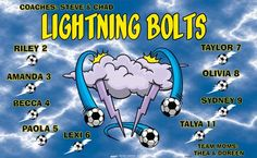 Lightning Bolts B54937  digitally printed vinyl soccer sports team banner. Made in the USA and shipped fast by BannersUSA.  You can easily create a similar banner using our Live Designer where you can manipulate ALL of the elements of ANY template.  You can change colors, add/change/remove text and graphics and resize the elements of your design, making it completely your own creation.
