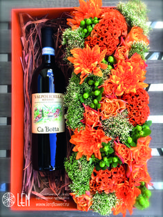 Flower and wine box/flower arrangement