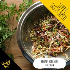 A twist on a traditional coleslaw. This is a much healthier alternative with added goodness. Coleslaw, Healthy Alternatives, Seaweed Salad, Tasty, Homemade, Traditional, Ethnic Recipes, Food, Coleslaw Salad